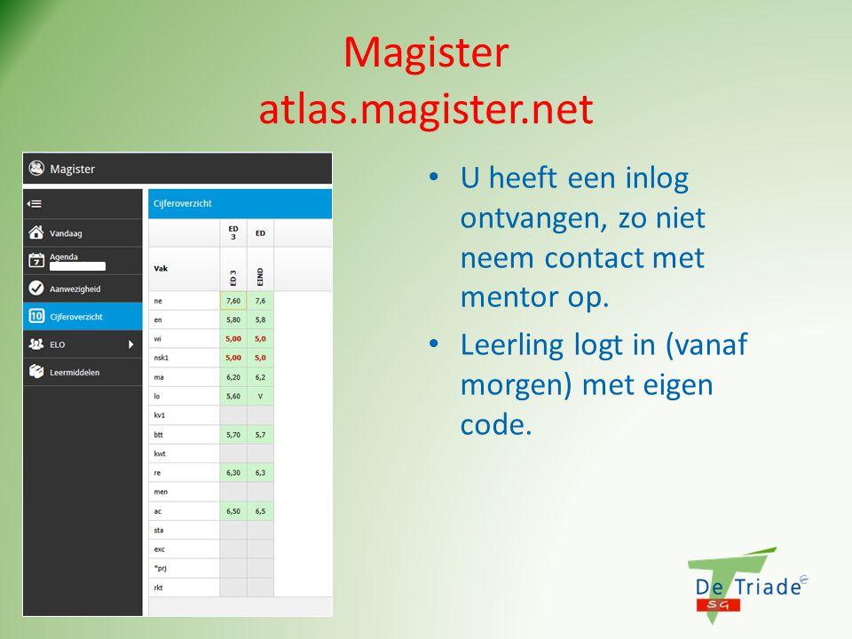 Magister atlas.magister.net U heeft een inlog ontvangen, zo niet neem contact met mentor op.