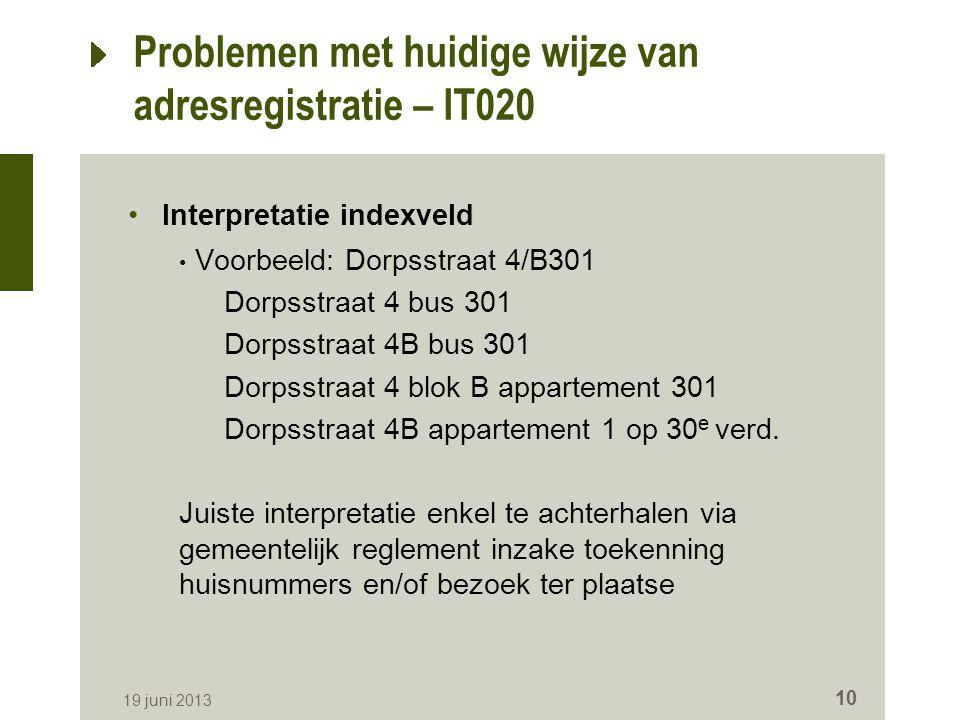 Problemen met huidige wijze van adresregistratie – IT020 Interpretatie indexveld Voorbeeld: Dorpsstraat 4/B301 Dorpsstraat 4 bus 301 Dorpsstraat 4B bu