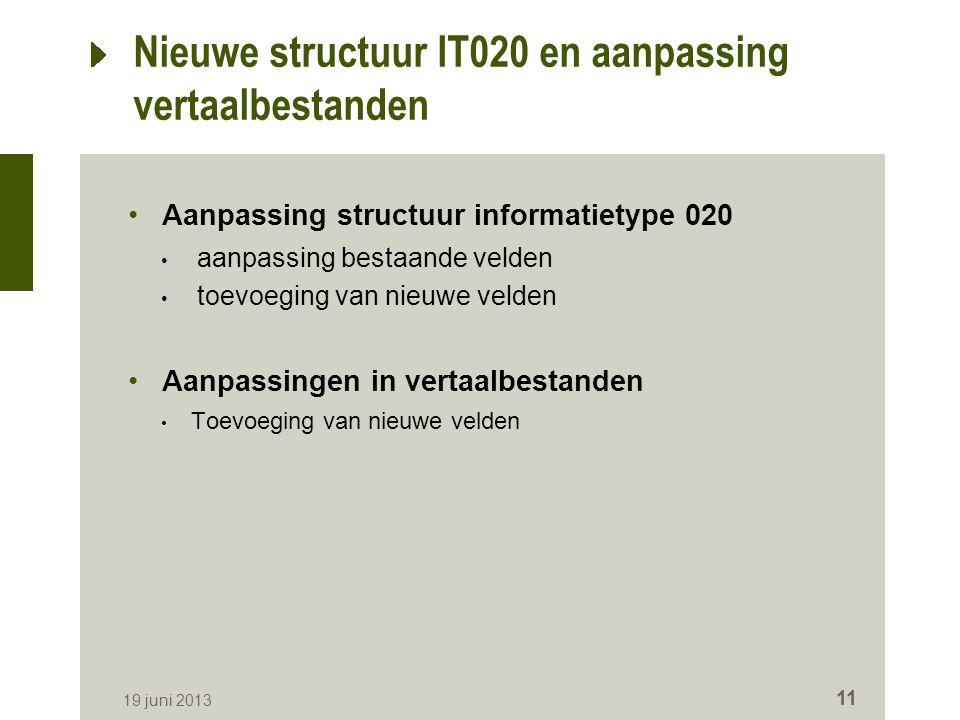Nieuwe structuur IT020 en aanpassing vertaalbestanden Aanpassing structuur informatietype 020 aanpassing bestaande velden toevoeging van nieuwe velden Aanpassingen in vertaalbestanden Toevoeging van nieuwe velden 19 juni 2013 11