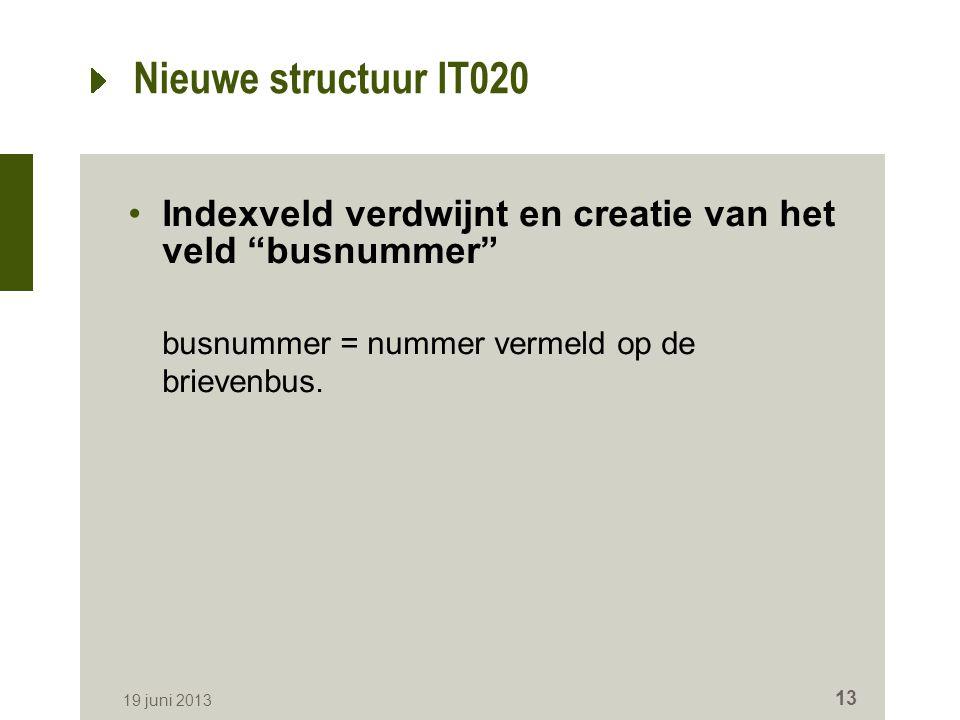 """Nieuwe structuur IT020 Indexveld verdwijnt en creatie van het veld """"busnummer"""" busnummer = nummer vermeld op de brievenbus. 19 juni 2013 13"""