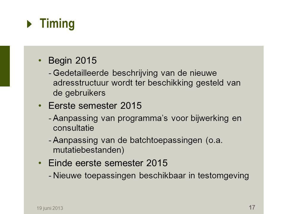 Timing Begin 2015 -Gedetailleerde beschrijving van de nieuwe adresstructuur wordt ter beschikking gesteld van de gebruikers Eerste semester 2015 -Aanpassing van programma's voor bijwerking en consultatie -Aanpassing van de batchtoepassingen (o.a.