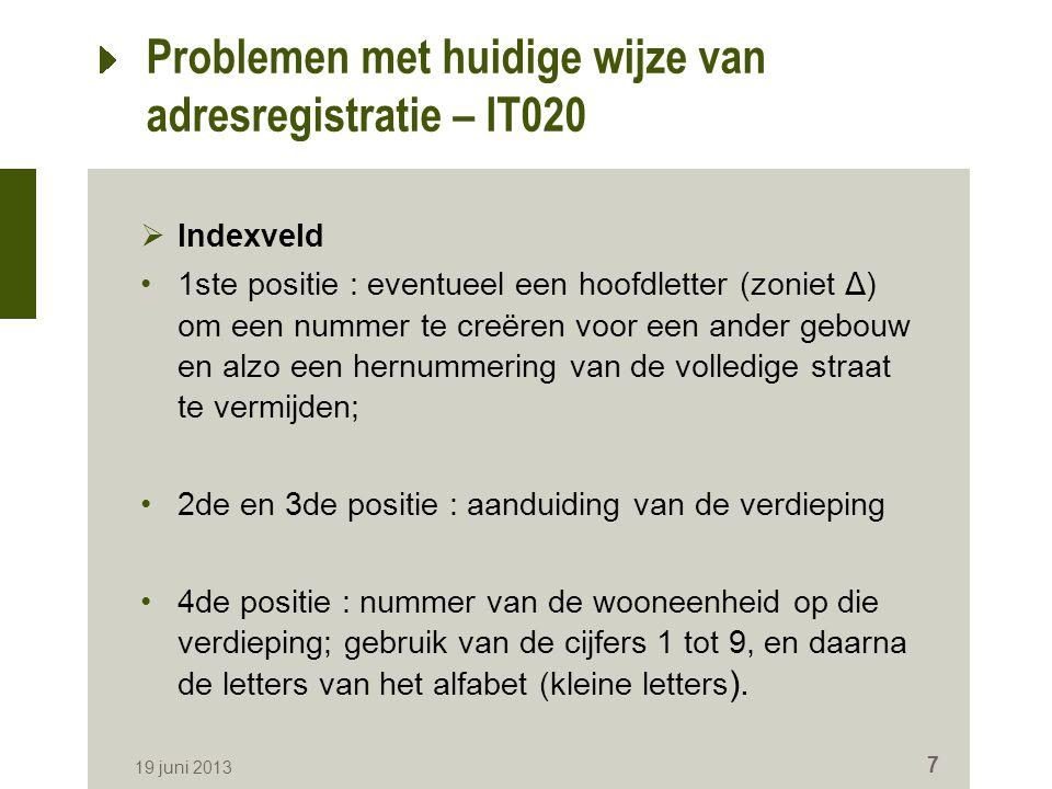 Problemen met huidige wijze van adresregistratie – IT020  Indexveld 1ste positie : eventueel een hoofdletter (zoniet Δ) om een nummer te creëren voor