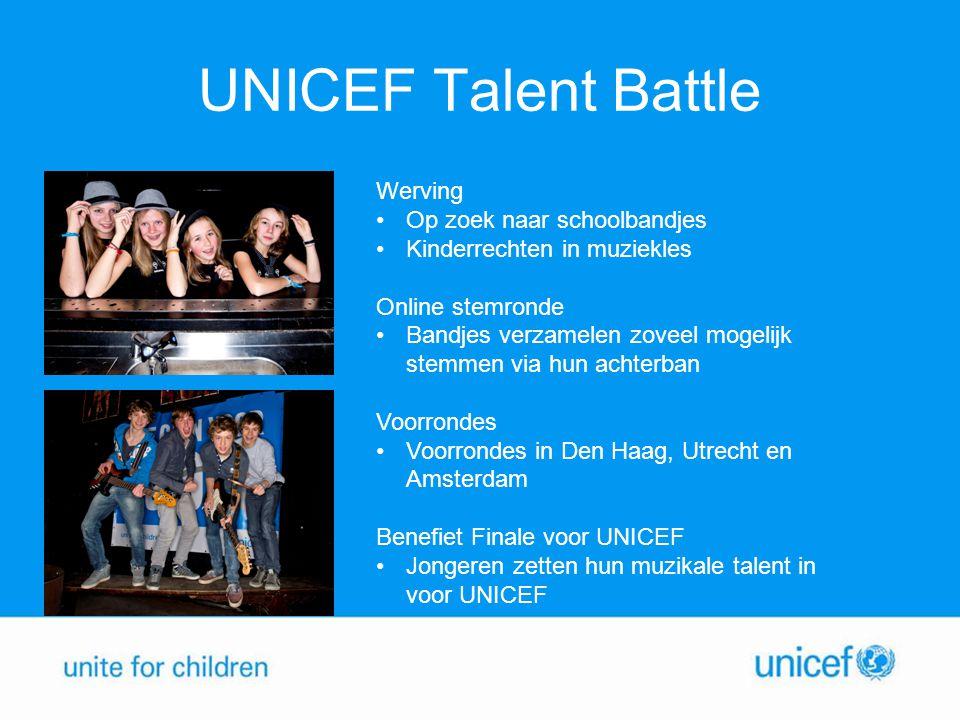 UNICEF Talent Battle Werving Op zoek naar schoolbandjes Kinderrechten in muziekles Online stemronde Bandjes verzamelen zoveel mogelijk stemmen via hun achterban Voorrondes Voorrondes in Den Haag, Utrecht en Amsterdam Benefiet Finale voor UNICEF Jongeren zetten hun muzikale talent in voor UNICEF