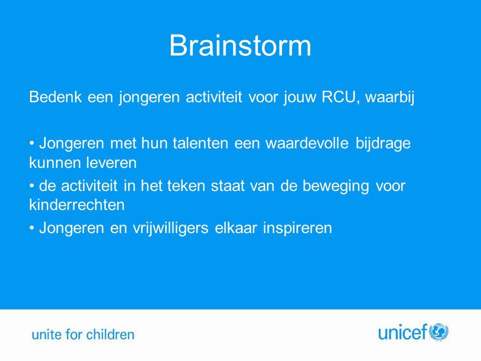 Brainstorm Bedenk een jongeren activiteit voor jouw RCU, waarbij Jongeren met hun talenten een waardevolle bijdrage kunnen leveren de activiteit in het teken staat van de beweging voor kinderrechten Jongeren en vrijwilligers elkaar inspireren