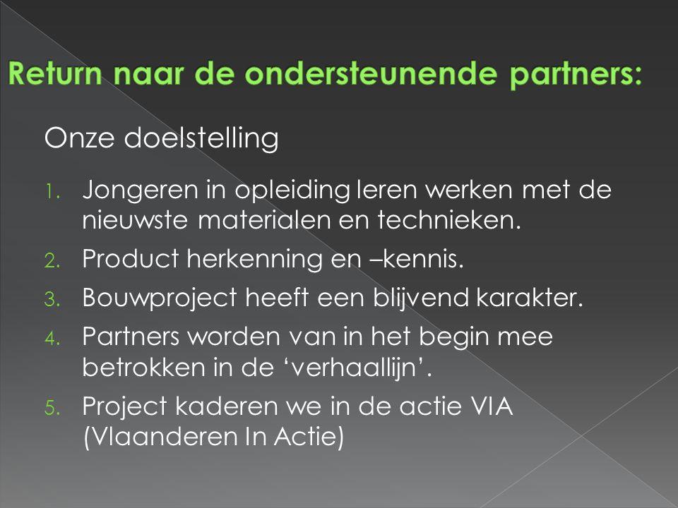 Onze doelstelling 1. Jongeren in opleiding leren werken met de nieuwste materialen en technieken. 2. Product herkenning en –kennis. 3. Bouwproject hee