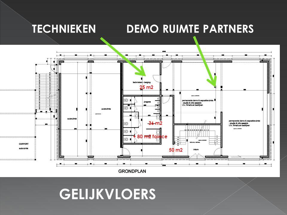 TECHNIEKENDEMO RUIMTE PARTNERS GELIJKVLOERS 25 m2 36 m2 50 m2 + 80 m2 faince