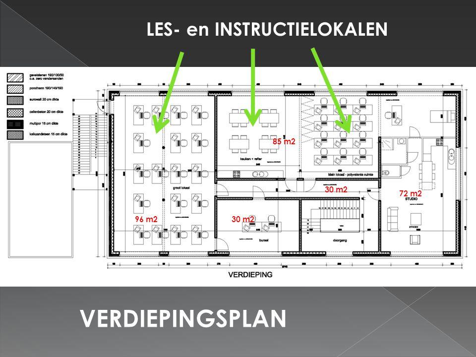 VERDIEPINGSPLAN LES- en INSTRUCTIELOKALEN 96 m2 85 m2 30 m2 72 m2