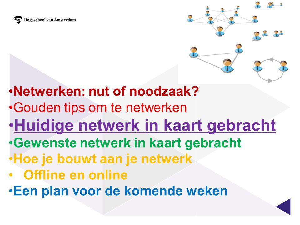 Netwerken: nut of noodzaak? Gouden tips om te netwerken Huidige netwerk in kaart gebracht Gewenste netwerk in kaart gebracht Hoe je bouwt aan je netwe