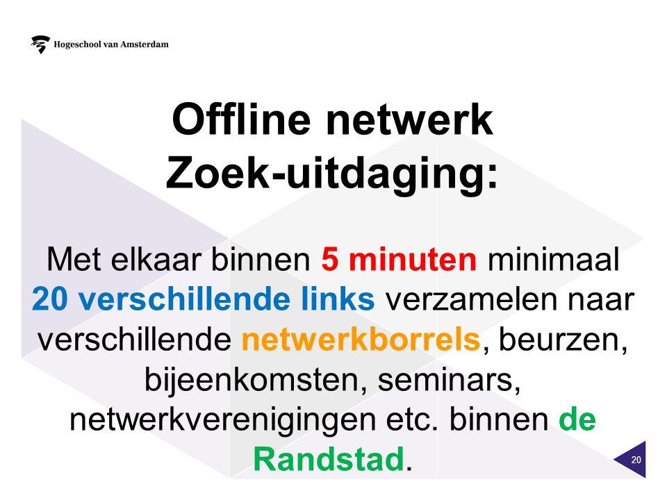 20 Offline netwerk Zoek-uitdaging: Met elkaar binnen 5 minuten minimaal 20 verschillende links verzamelen naar verschillende netwerkborrels, beurzen,