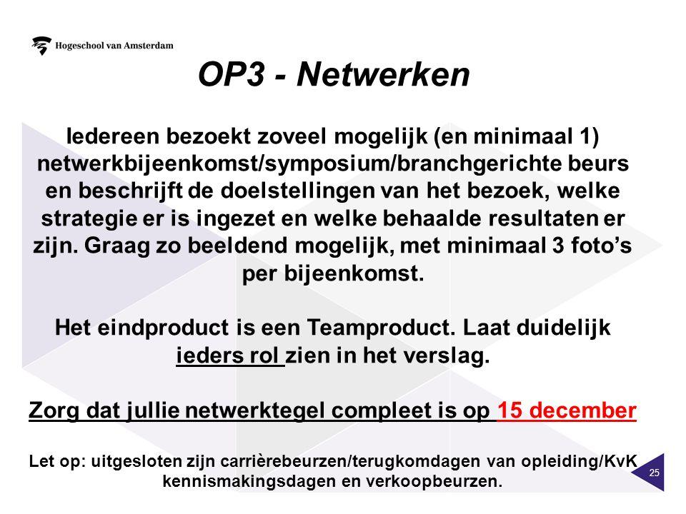 25 OP3 - Netwerken Iedereen bezoekt zoveel mogelijk (en minimaal 1) netwerkbijeenkomst/symposium/branchgerichte beurs en beschrijft de doelstellingen