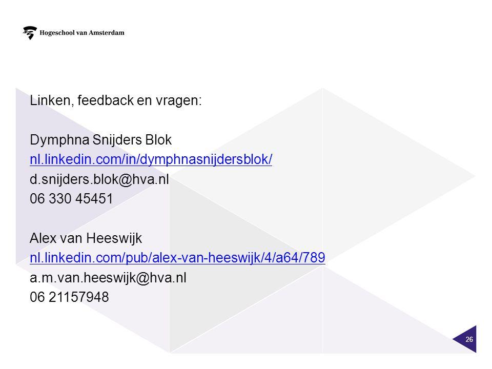 Linken, feedback en vragen: Dymphna Snijders Blok nl.linkedin.com/in/dymphnasnijdersblok/ d.snijders.blok@hva.nl 06 330 45451 Alex van Heeswijk nl.lin