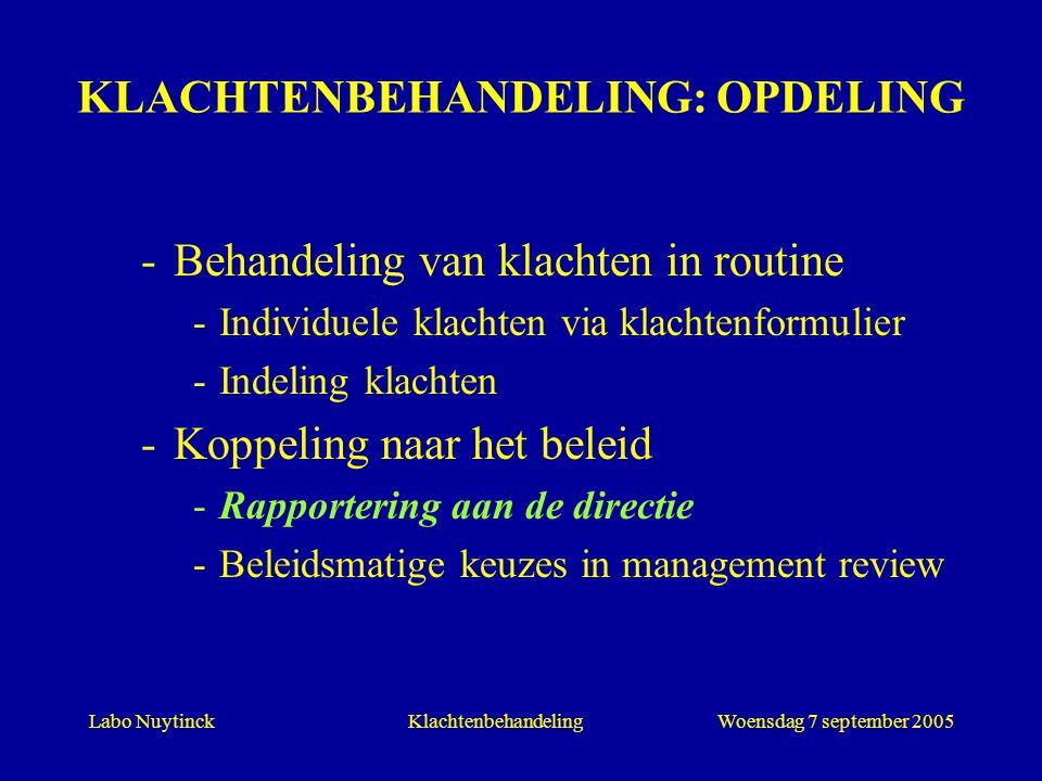 Labo NuytinckWoensdag 7 september 2005Klachtenbehandeling KLACHTENBEHANDELING: OPDELING -Behandeling van klachten in routine -Individuele klachten via