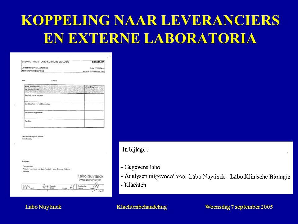 Labo NuytinckWoensdag 7 september 2005Klachtenbehandeling KOPPELING NAAR LEVERANCIERS EN EXTERNE LABORATORIA