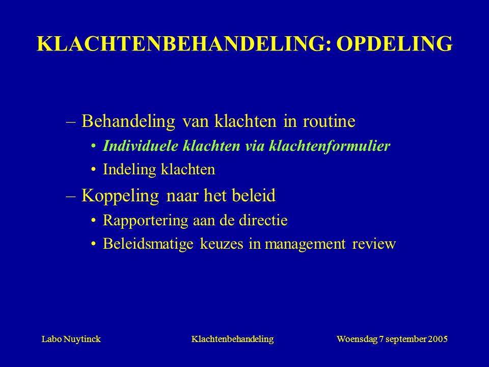 Labo NuytinckWoensdag 7 september 2005Klachtenbehandeling KLACHTENBEHANDELING: OPDELING –Behandeling van klachten in routine Individuele klachten via