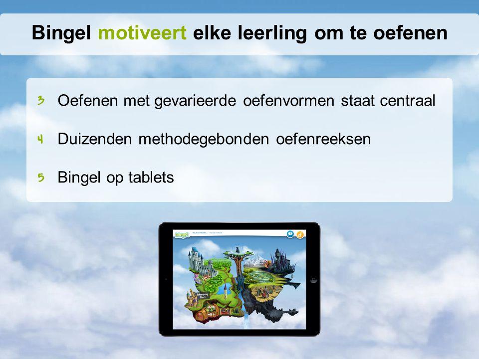 Oefenen met gevarieerde oefenvormen staat centraal Duizenden methodegebonden oefenreeksen Bingel op tablets Bingel motiveert elke leerling om te oefenen