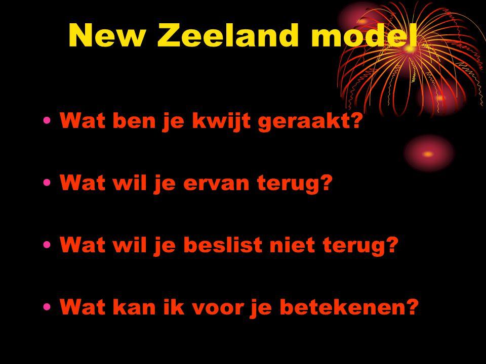 New Zeeland model Wat ben je kwijt geraakt? Wat wil je ervan terug? Wat wil je beslist niet terug? Wat kan ik voor je betekenen?