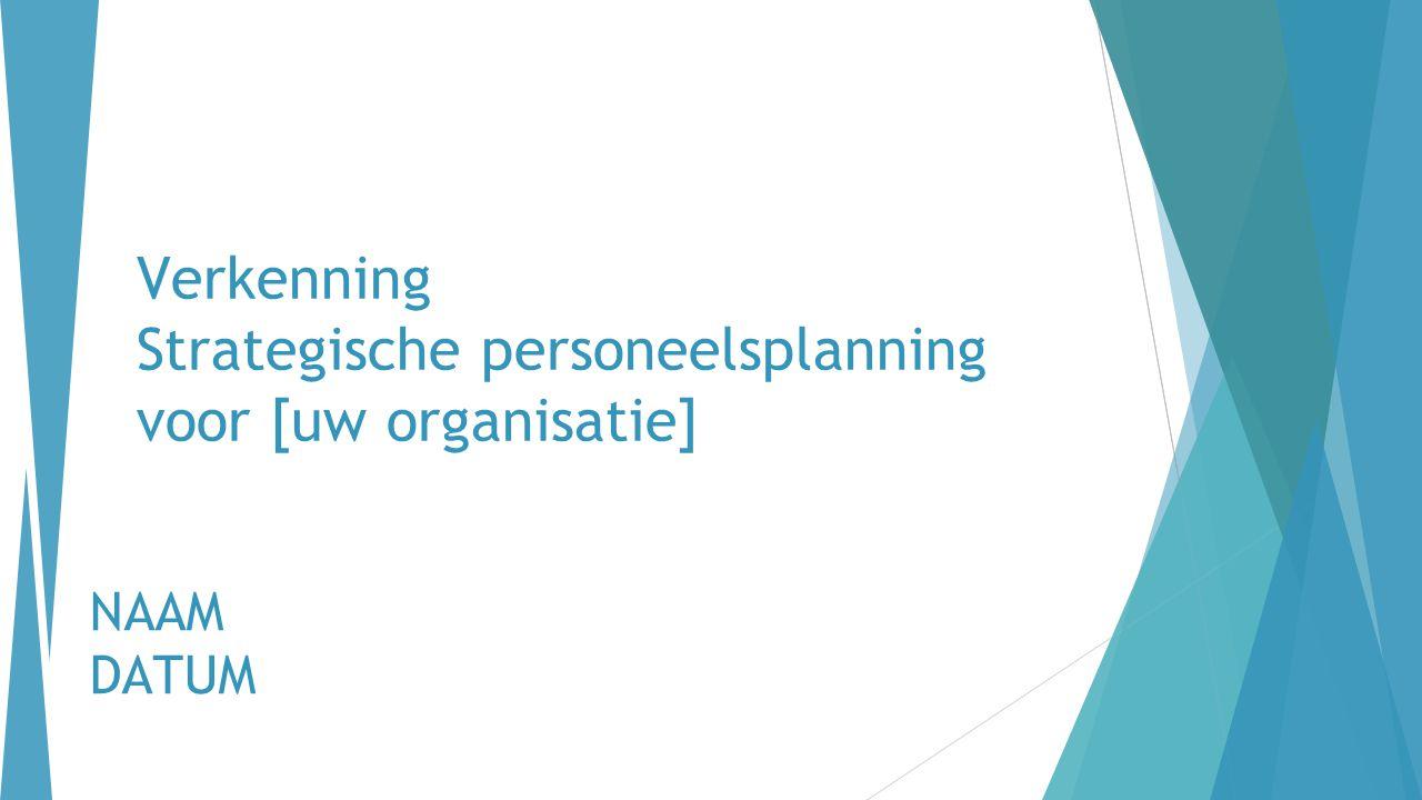 Verkenning Strategische personeelsplanning voor [uw organisatie] NAAM DATUM