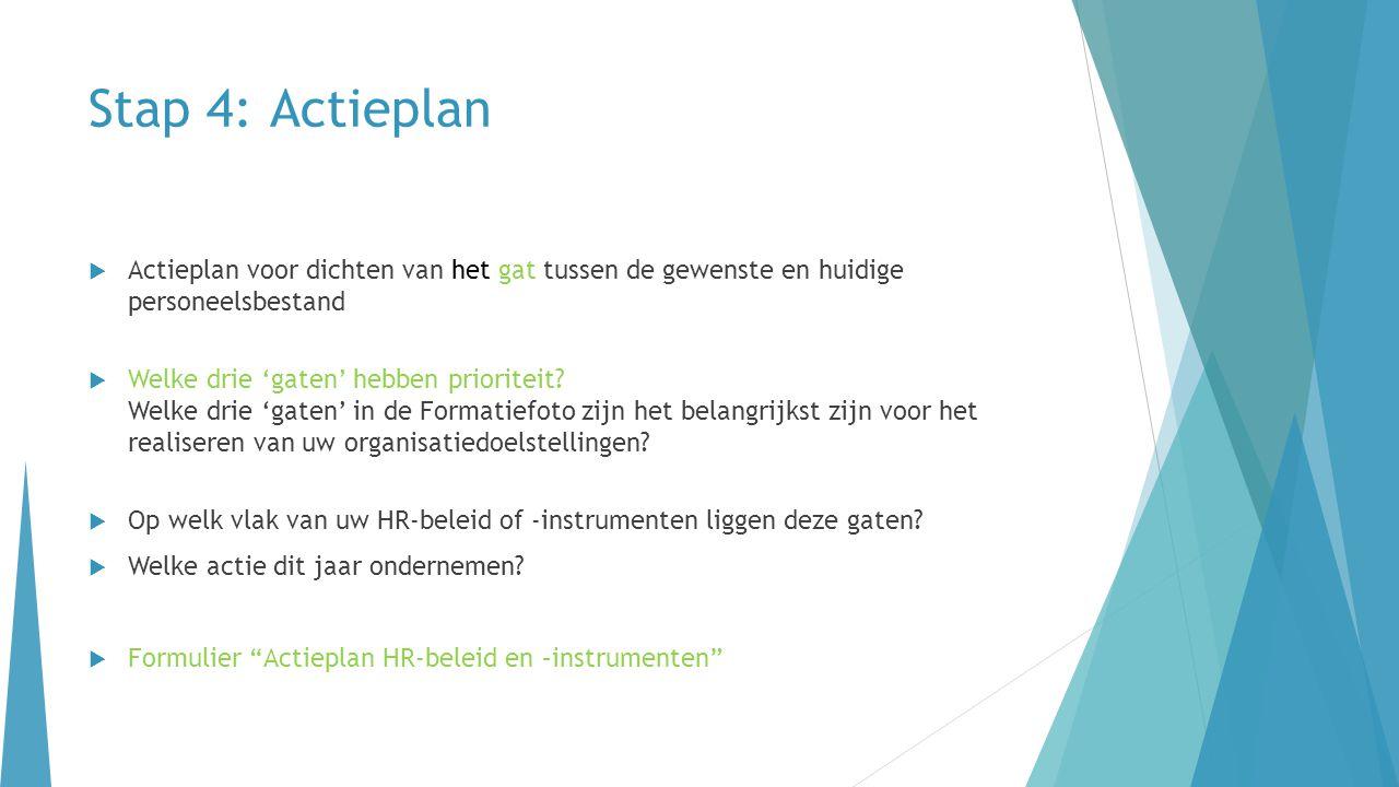 Stap 4: Actieplan  Actieplan voor dichten van het gat tussen de gewenste en huidige personeelsbestand  Welke drie 'gaten' hebben prioriteit? Welke d