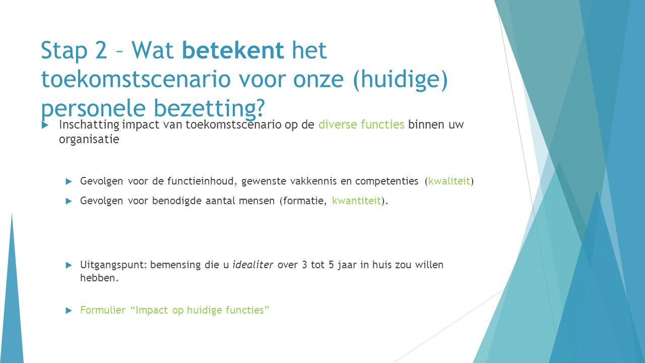 Stap 2 – Wat betekent het toekomstscenario voor onze (huidige) personele bezetting?  Inschatting impact van toekomstscenario op de diverse functies b