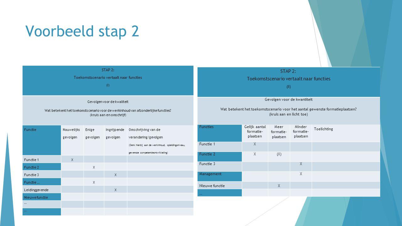 Voorbeeld stap 2 STAP 2: Toekomstscenario vertaalt naar functies (I) Gevolgen voor de kwaliteit Wat betekent het toekomstscenario voor de werkinhoud v
