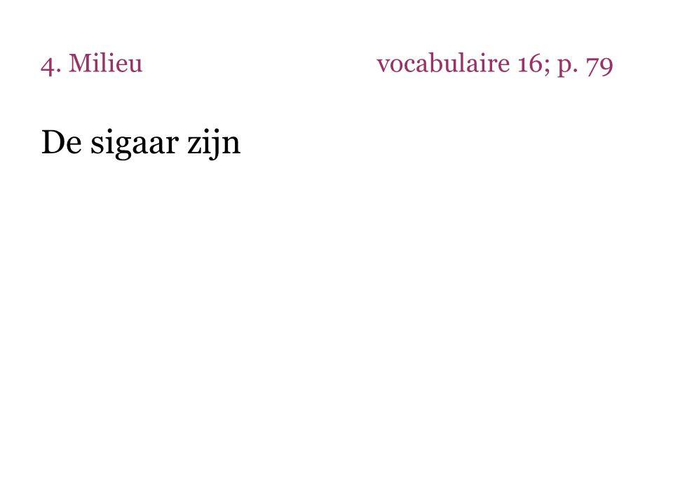 4. Milieuvocabulaire 16; p. 79 De sigaar zijn