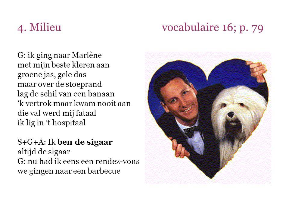 4. Milieuvocabulaire 16; p. 79 G: ik ging naar Marlène met mijn beste kleren aan groene jas, gele das maar over de stoeprand lag de schil van een bana