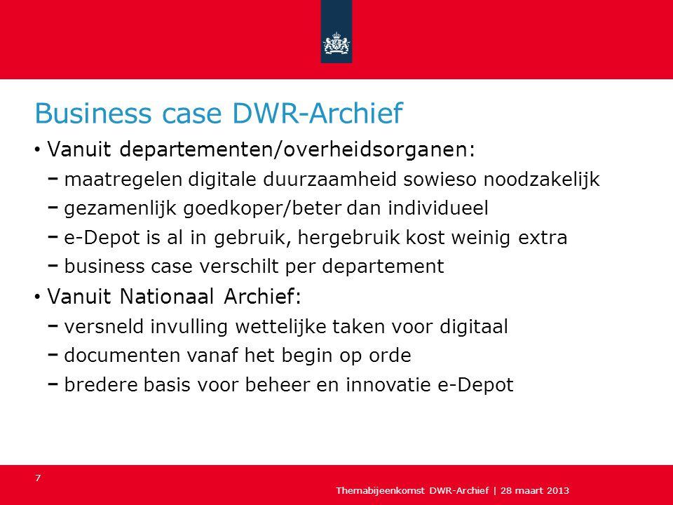 Business case DWR-Archief Vanuit departementen/overheidsorganen: maatregelen digitale duurzaamheid sowieso noodzakelijk gezamenlijk goedkoper/beter da