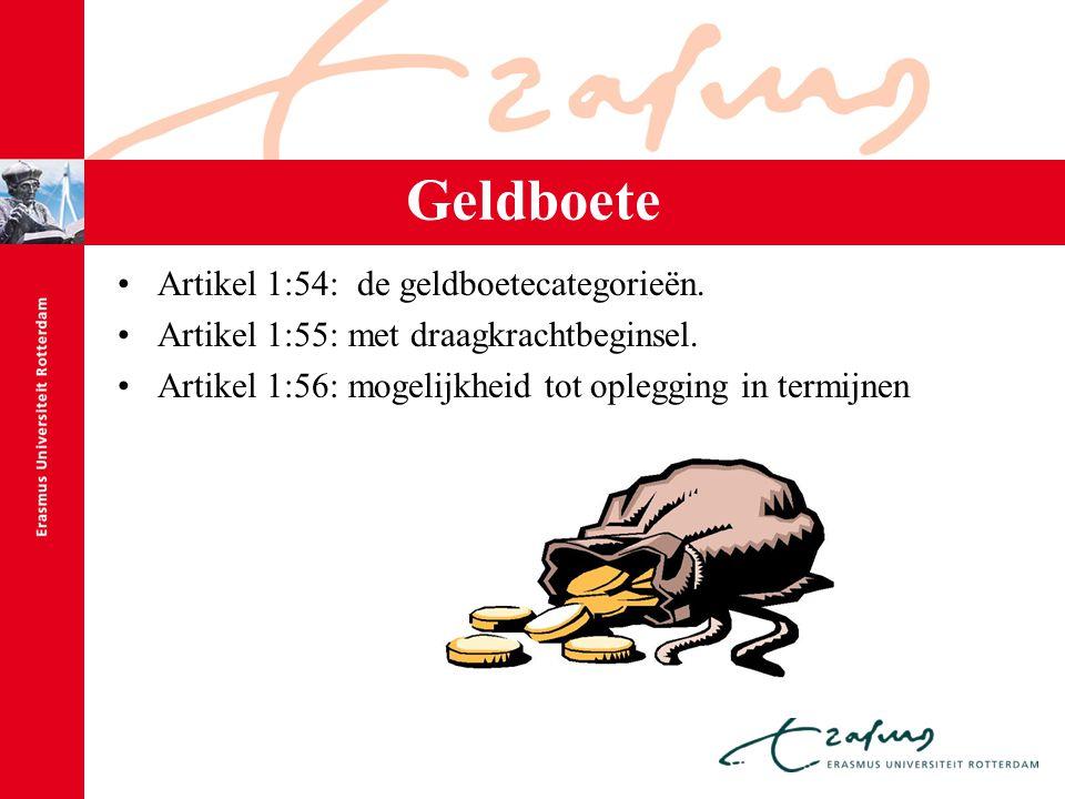 Geldboete Artikel 1:54: de geldboetecategorieën. Artikel 1:55: met draagkrachtbeginsel. Artikel 1:56: mogelijkheid tot oplegging in termijnen