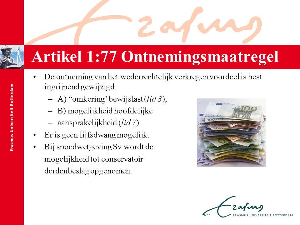 """Artikel 1:77 Ontnemingsmaatregel De ontneming van het wederrechtelijk verkregen voordeel is best ingrijpend gewijzigd: –A) """"omkering' bewijslast (lid"""