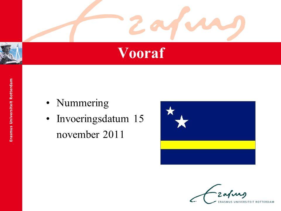 Vooraf Nummering Invoeringsdatum 15 november 2011