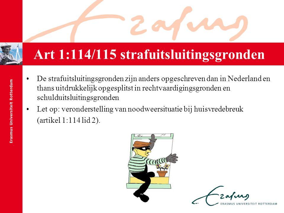 Art 1:114/115 strafuitsluitingsgronden De strafuitsluitingsgronden zijn anders opgeschreven dan in Nederland en thans uitdrukkelijk opgesplitst in rec