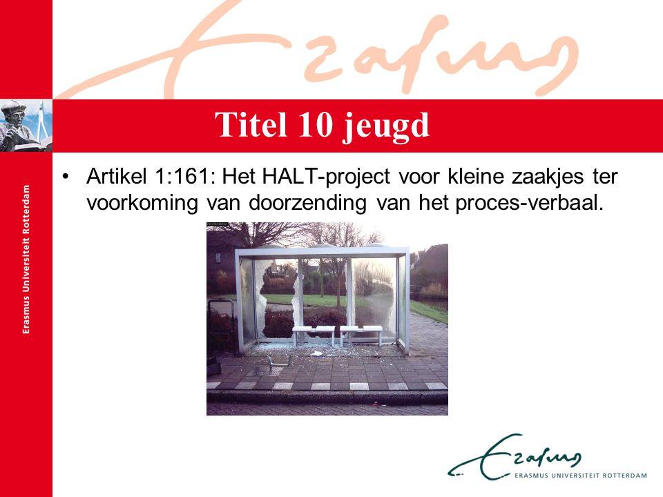Titel 10 jeugd Artikel 1:161: Het HALT-project voor kleine zaakjes ter voorkoming van doorzending van het proces-verbaal.