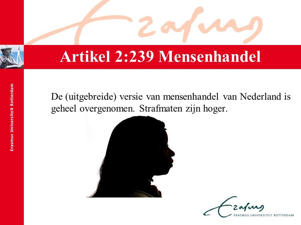 Artikel 2:239 Mensenhandel De (uitgebreide) versie van mensenhandel van Nederland is geheel overgenomen. Strafmaten zijn hoger.