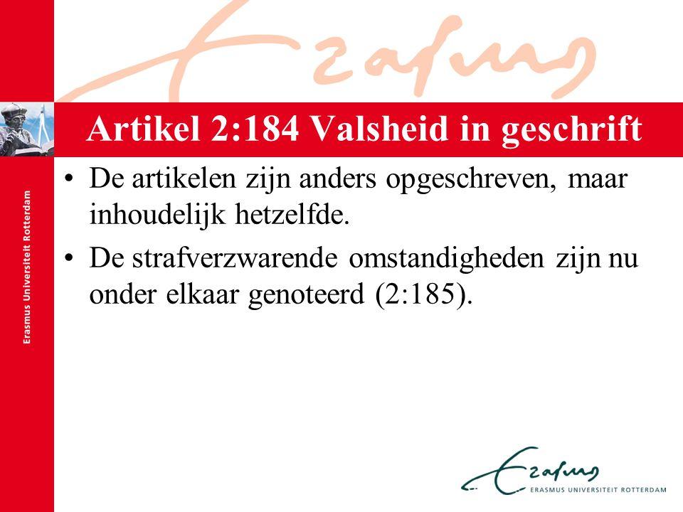 Artikel 2:184 Valsheid in geschrift De artikelen zijn anders opgeschreven, maar inhoudelijk hetzelfde. De strafverzwarende omstandigheden zijn nu onde