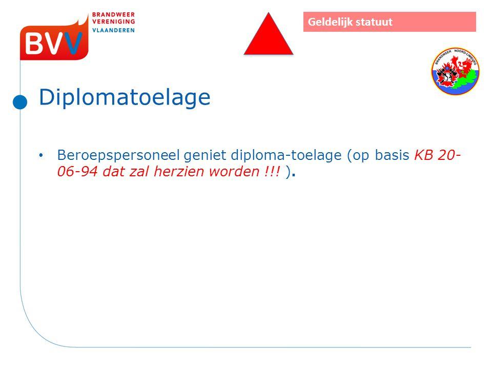 Diplomatoelage Beroepspersoneel geniet diploma-toelage (op basis KB 20- 06-94 dat zal herzien worden !!! ). Geldelijk statuut