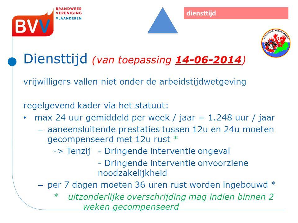 Diensttijd (van toepassing 14-06-2014) vrijwilligers vallen niet onder de arbeidstijdwetgeving regelgevend kader via het statuut: max 24 uur gemiddeld