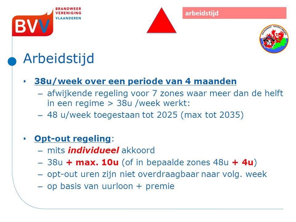 Arbeidstijd 38u/week over een periode van 4 maanden – afwijkende regeling voor 7 zones waar meer dan de helft in een regime > 38u /week werkt: – 48 u/
