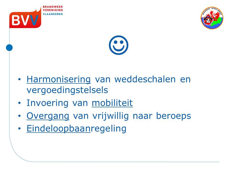 Harmonisering van weddeschalen en vergoedingstelsels Invoering van mobiliteit Overgang van vrijwillig naar beroeps Eindeloopbaanregeling