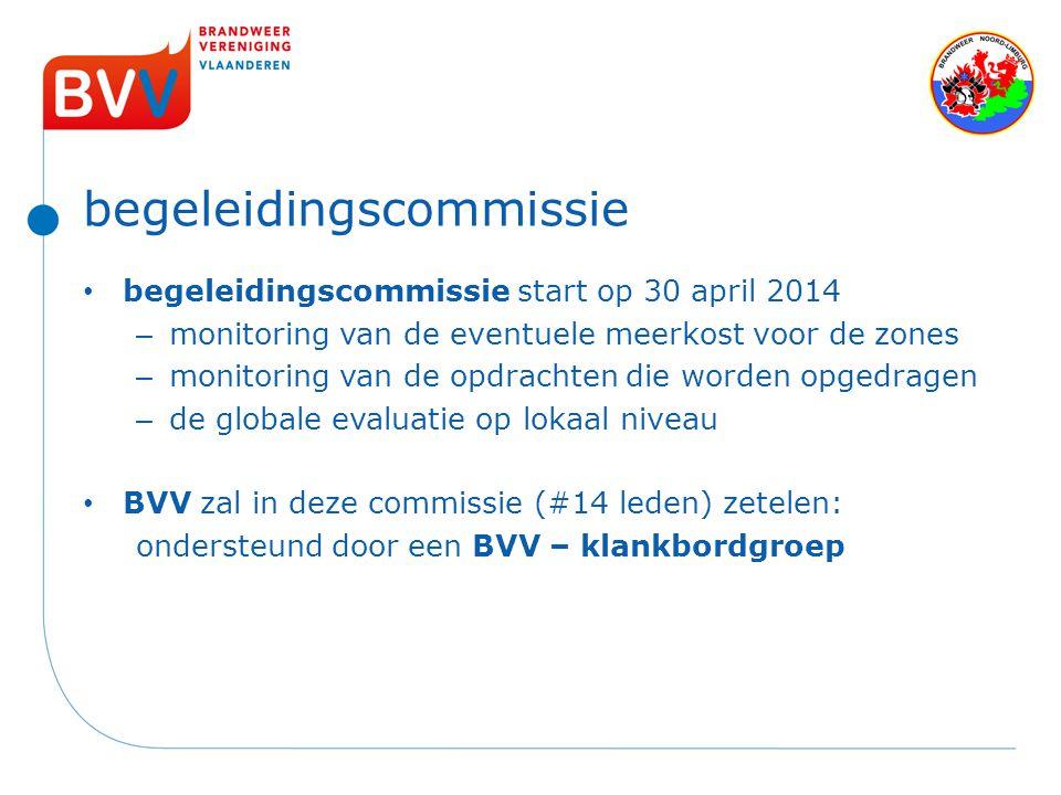 begeleidingscommissie begeleidingscommissie start op 30 april 2014 – monitoring van de eventuele meerkost voor de zones – monitoring van de opdrachten