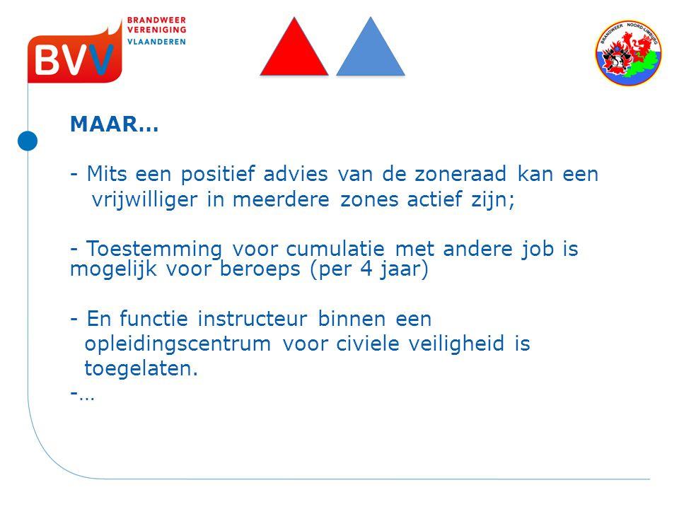 MAAR… - Mits een positief advies van de zoneraad kan een vrijwilliger in meerdere zones actief zijn; - Toestemming voor cumulatie met andere job is mo