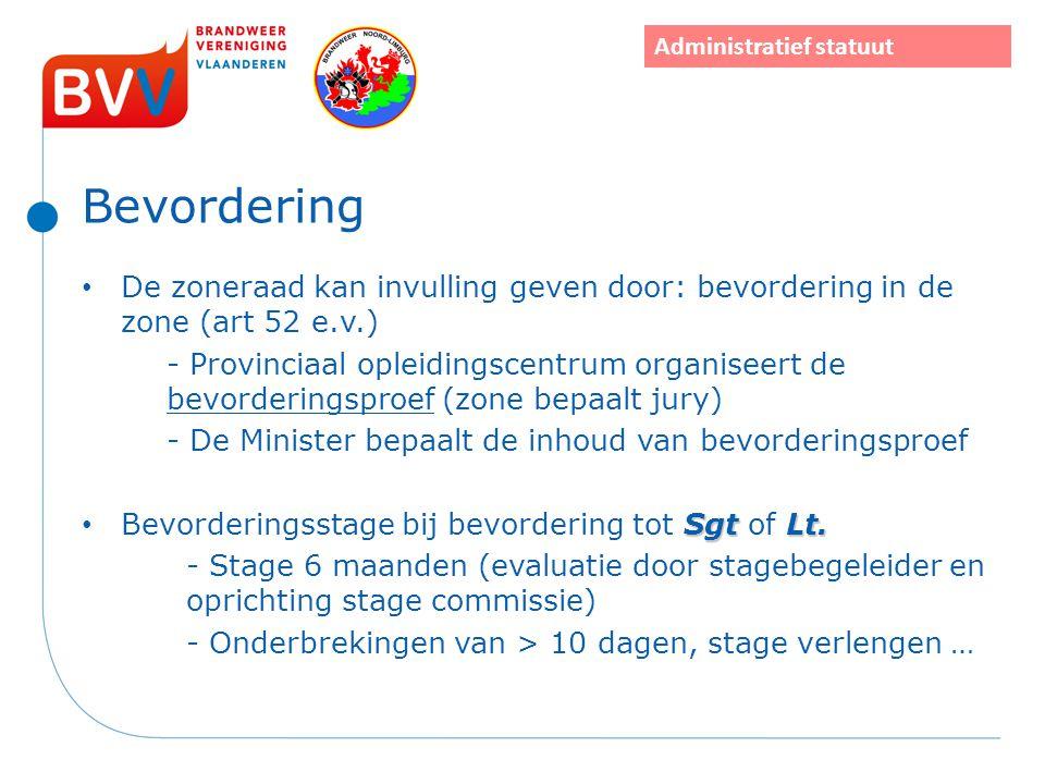 Bevordering De zoneraad kan invulling geven door: bevordering in de zone (art 52 e.v.) - Provinciaal opleidingscentrum organiseert de bevorderingsproe