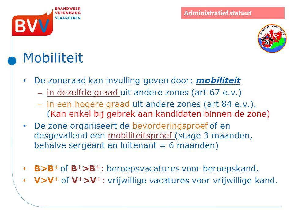 Mobiliteit De zoneraad kan invulling geven door: mobiliteit – in dezelfde graad uit andere zones (art 67 e.v.) – in een hogere graad uit andere zones