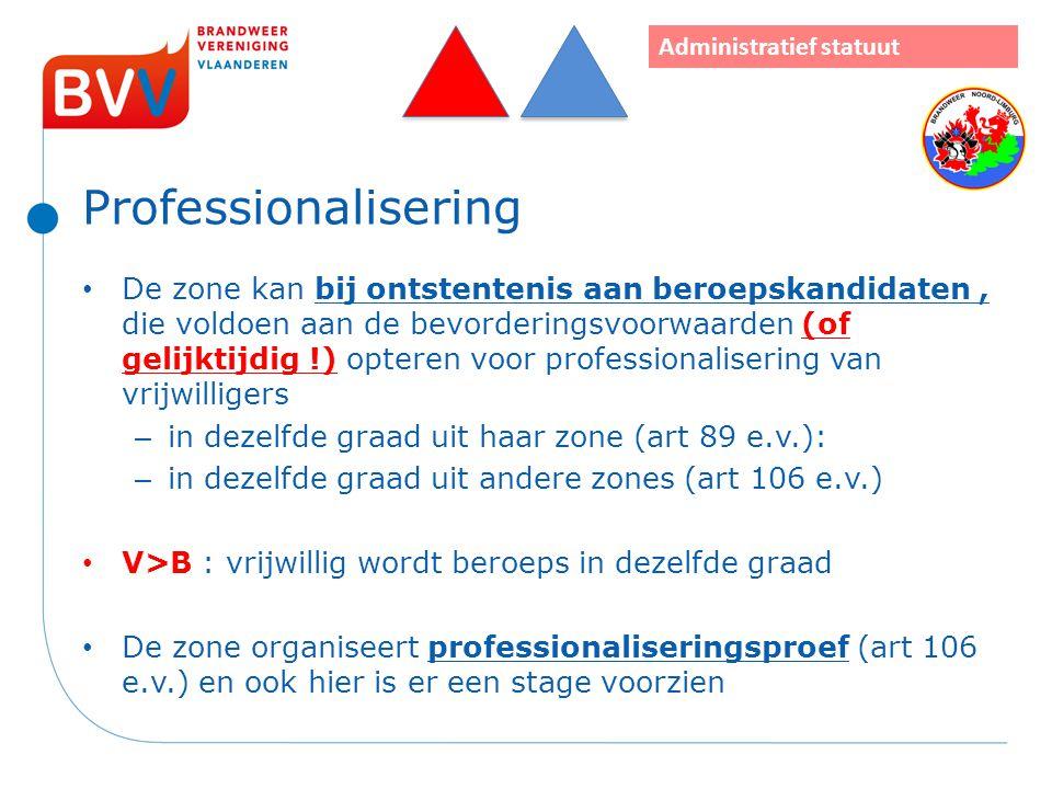 Professionalisering De zone kan bij ontstentenis aan beroepskandidaten, die voldoen aan de bevorderingsvoorwaarden (of gelijktijdig !) opteren voor pr