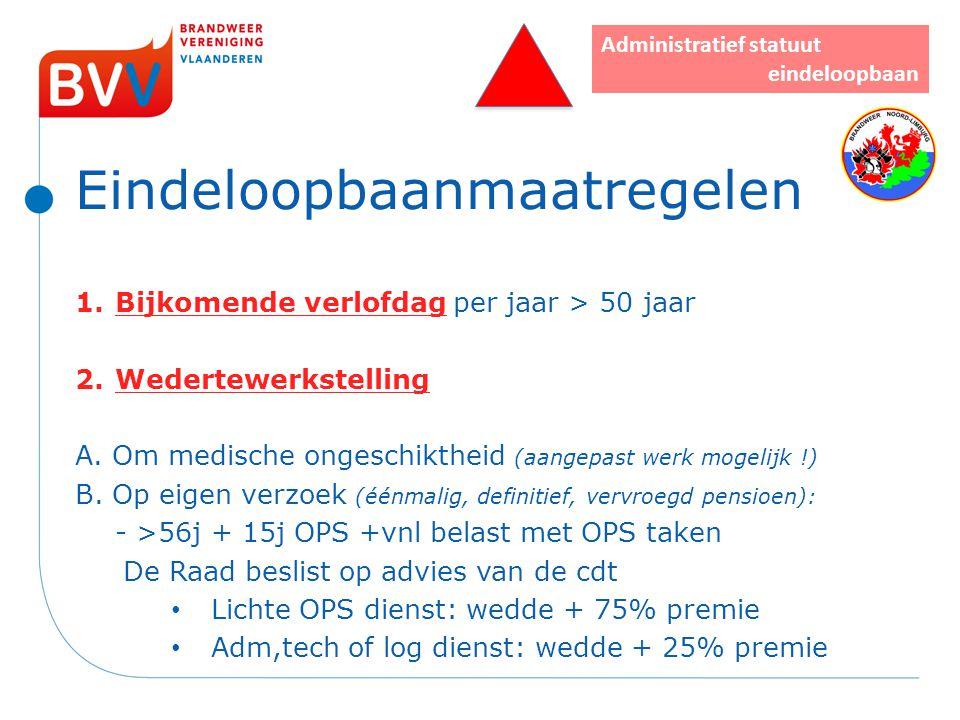 Eindeloopbaanmaatregelen 1.Bijkomende verlofdag per jaar > 50 jaar 2.Wedertewerkstelling A. Om medische ongeschiktheid (aangepast werk mogelijk !) B.