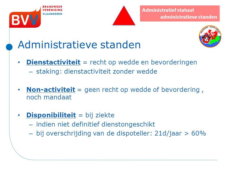 Administratieve standen Dienstactiviteit = recht op wedde en bevorderingen – staking: dienstactiviteit zonder wedde Non-activiteit = geen recht op wed