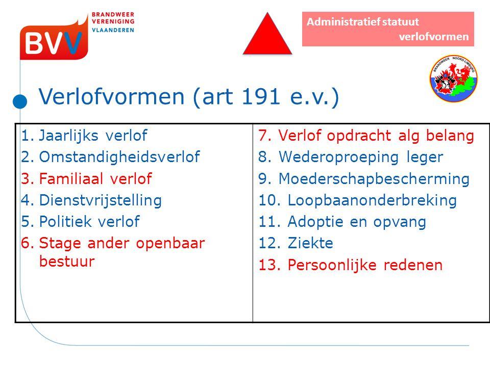 Verlofvormen (art 191 e.v.) Administratief statuut verlofvormen 1.Jaarlijks verlof 2.Omstandigheidsverlof 3.Familiaal verlof 4.Dienstvrijstelling 5.Po