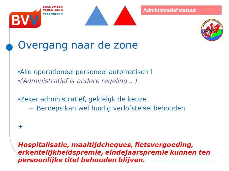 Overgang naar de zone Alle operationeel personeel automatisch ! (Administratief is andere regeling… ) Zeker administratief, geldelijk de keuze – Beroe
