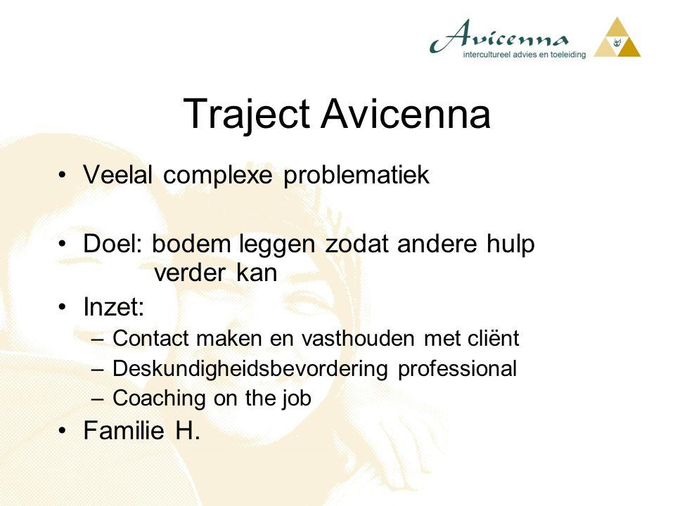 Traject Avicenna Veelal complexe problematiek Doel: bodem leggen zodat andere hulp verder kan Inzet: –Contact maken en vasthouden met cliënt –Deskundi