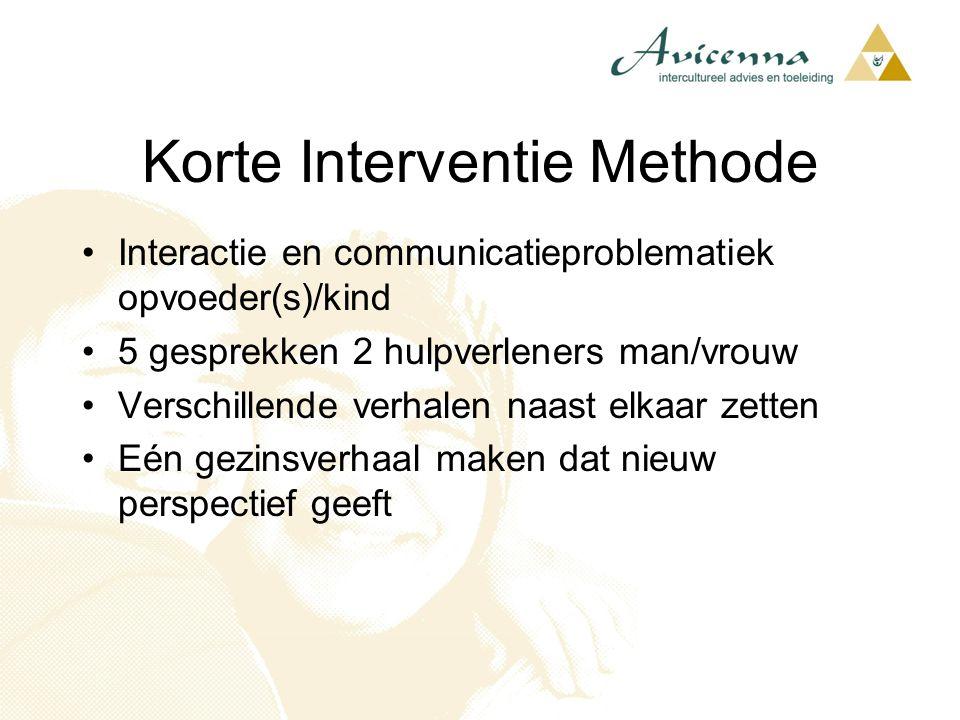 Korte Interventie Methode Interactie en communicatieproblematiek opvoeder(s)/kind 5 gesprekken 2 hulpverleners man/vrouw Verschillende verhalen naast