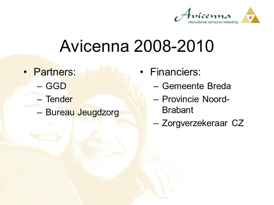 Partners: –GGD –Tender –Bureau Jeugdzorg Avicenna 2008-2010 Financiers: –Gemeente Breda –Provincie Noord- Brabant –Zorgverzekeraar CZ